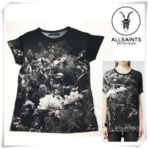 All Saints Portugal Floral Graphic Print Tee shirt
